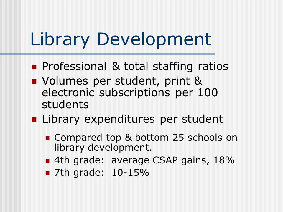 Library Development Professional & total staffing ratios