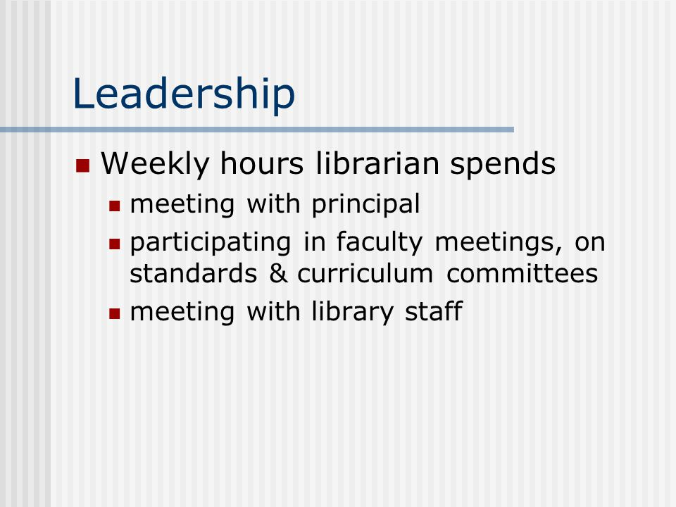 Leadership Weekly hours librarian spends meeting with principal