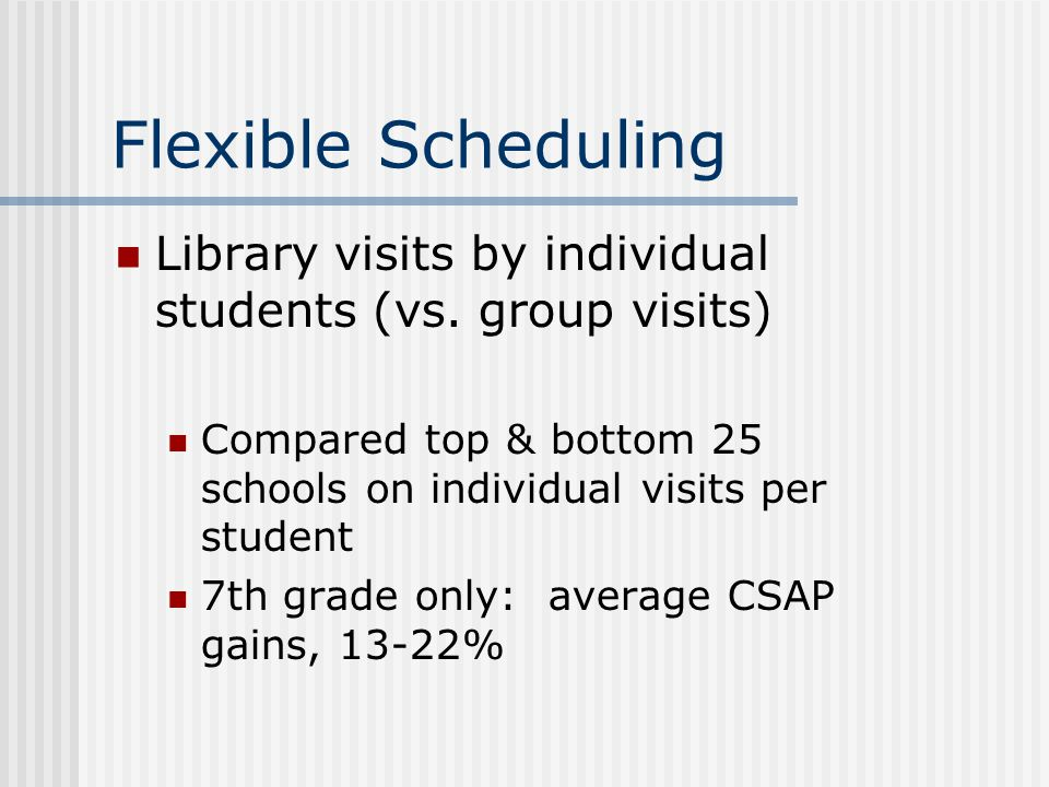 Flexible Scheduling Library visits by individual students (vs. group visits) Compared top & bottom 25 schools on individual visits per student.
