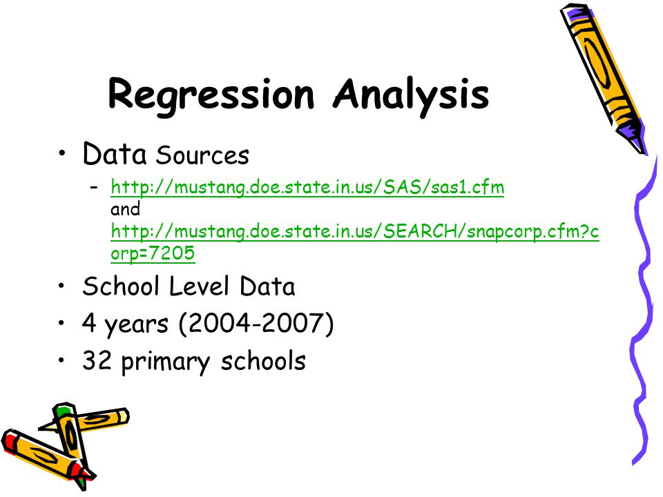 Regression Analysis Data Sources School Level Data 4 years (2004-2007)