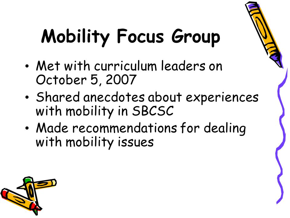 Mobility Focus Group Met with curriculum leaders on October 5, 2007