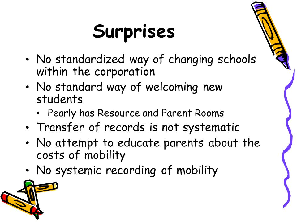 Surprises No standardized way of changing schools within the corporation. No standard way of welcoming new students.