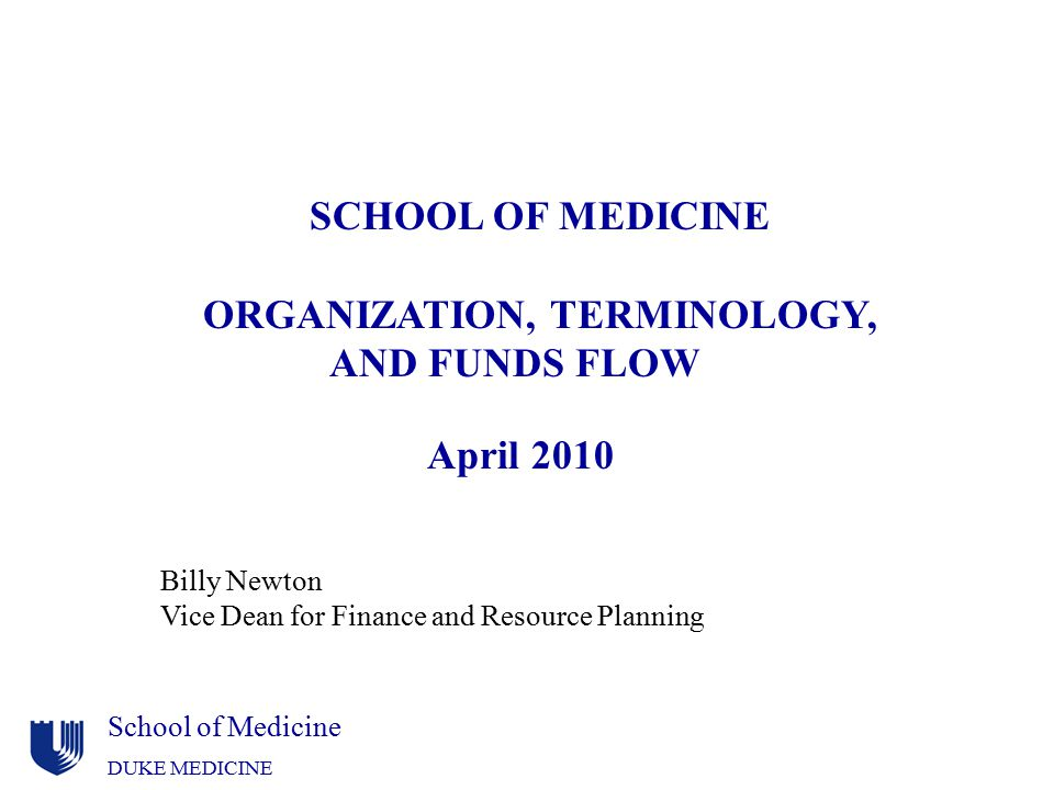 ORGANIZATION, TERMINOLOGY, AND FUNDS FLOW