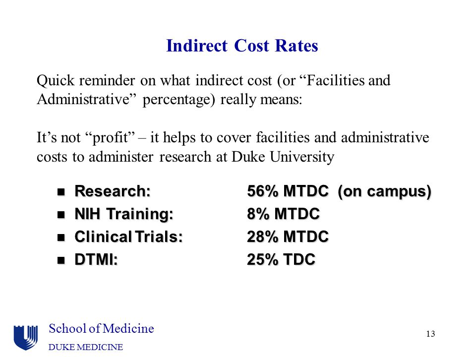 Indirect Cost Rates Quick reminder on what indirect cost (or Facilities and. Administrative percentage) really means: