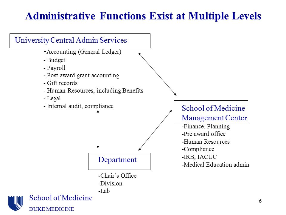 Administrative Functions Exist at Multiple Levels