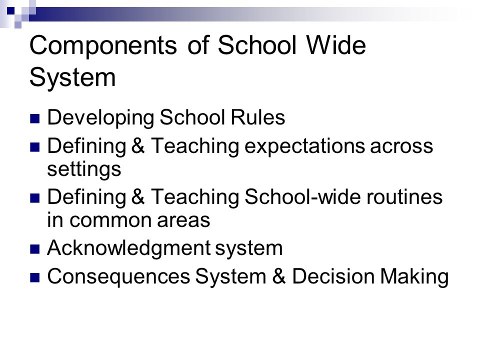 Components of School Wide System