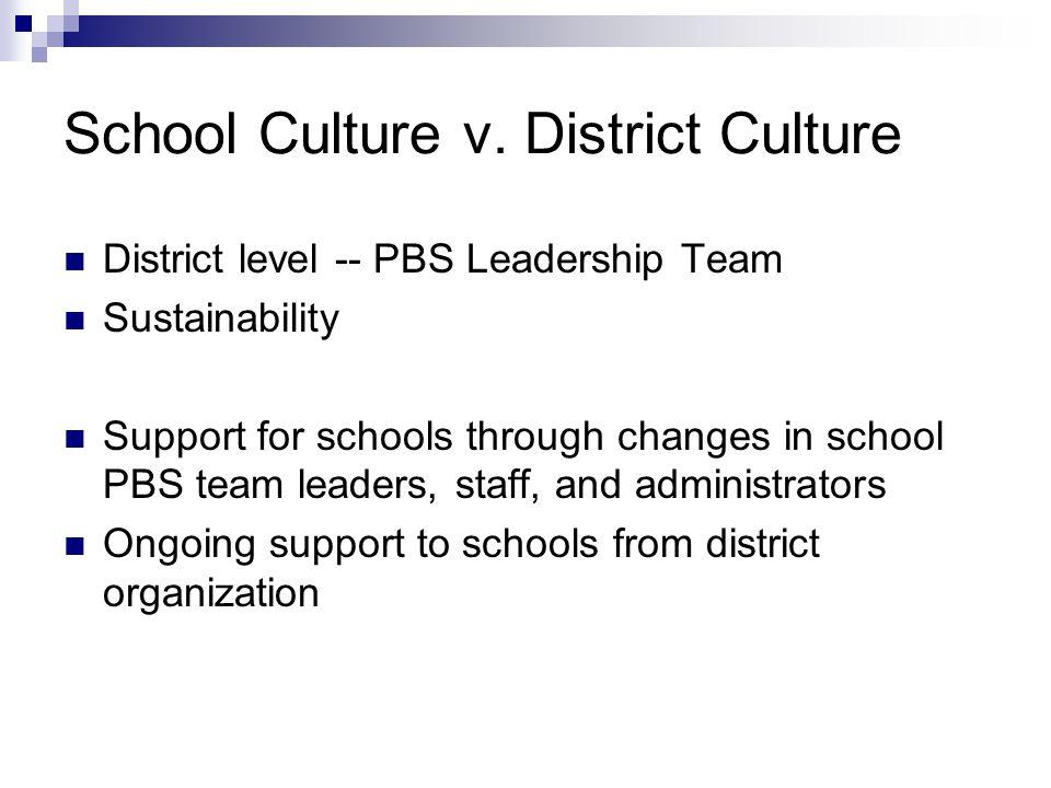 School Culture v. District Culture