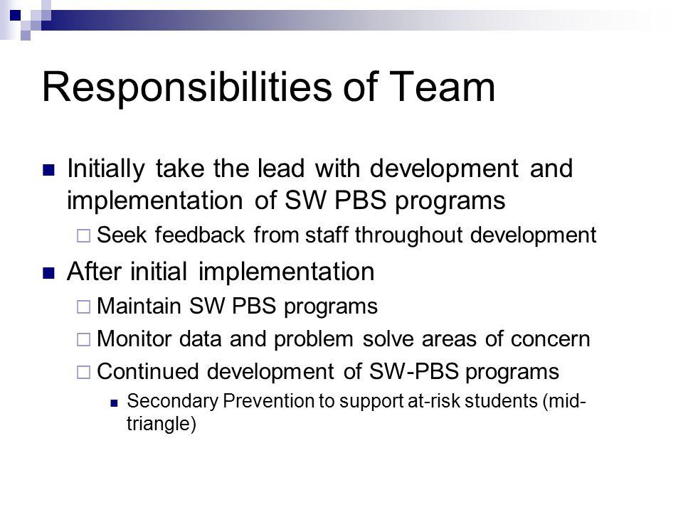 Responsibilities of Team