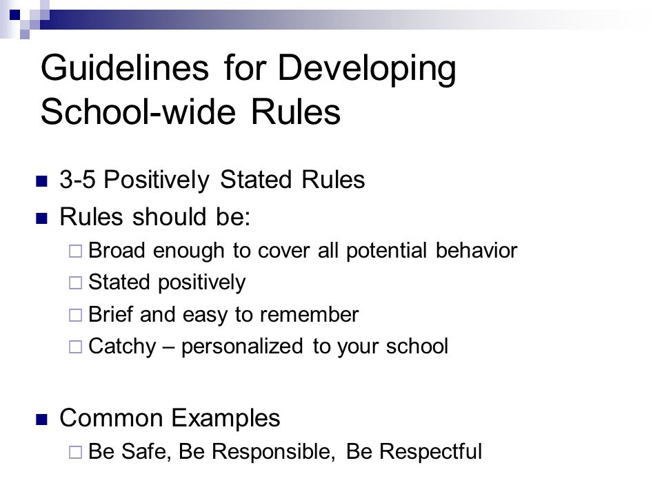 Guidelines for Developing School-wide Rules