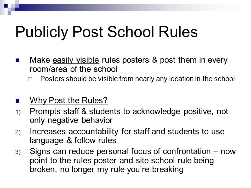 Publicly Post School Rules