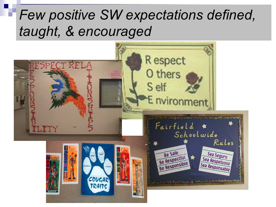Few positive SW expectations defined, taught, & encouraged