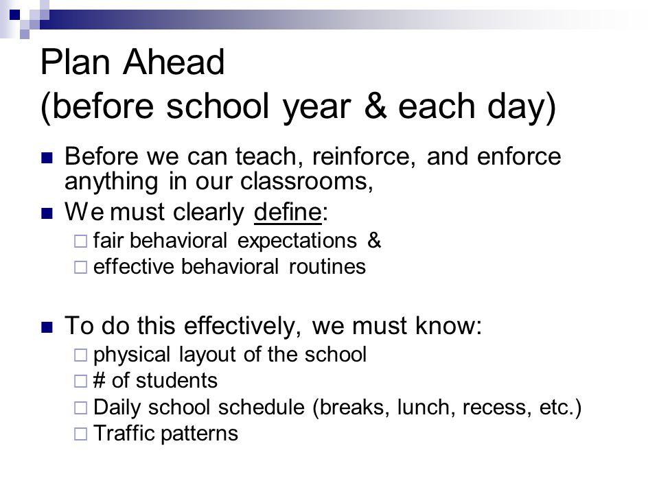 Plan Ahead (before school year & each day)