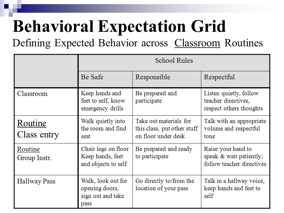 Behavioral Expectation Grid Defining Expected Behavior across Classroom Routines
