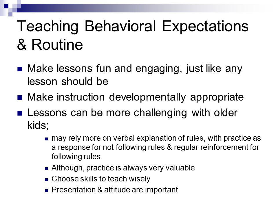 Teaching Behavioral Expectations & Routine
