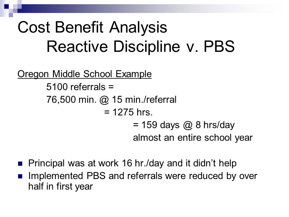 Cost Benefit Analysis Reactive Discipline v. PBS