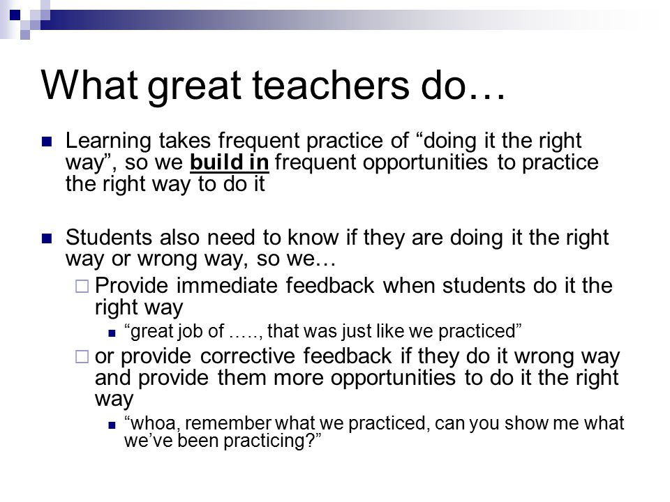 What great teachers do…