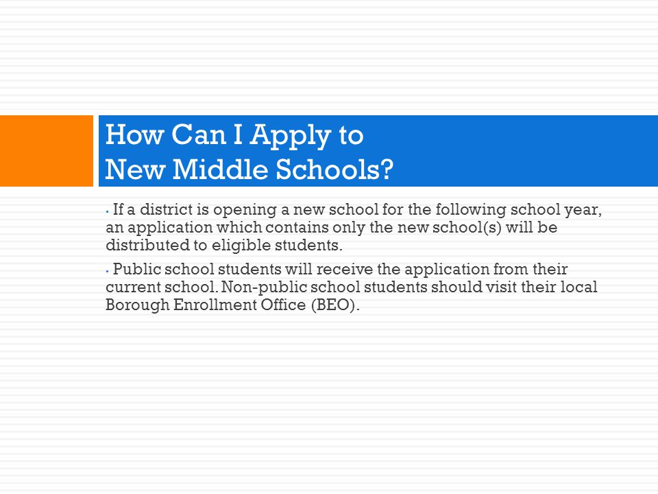 How Can I Apply to New Middle Schools