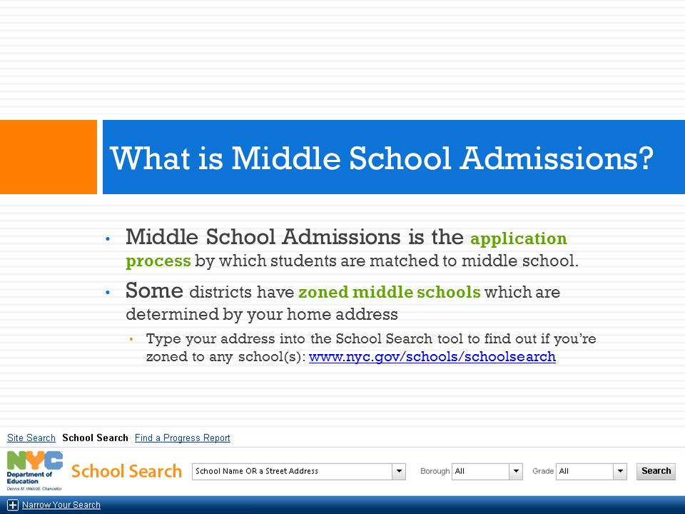 What is Middle School Admissions