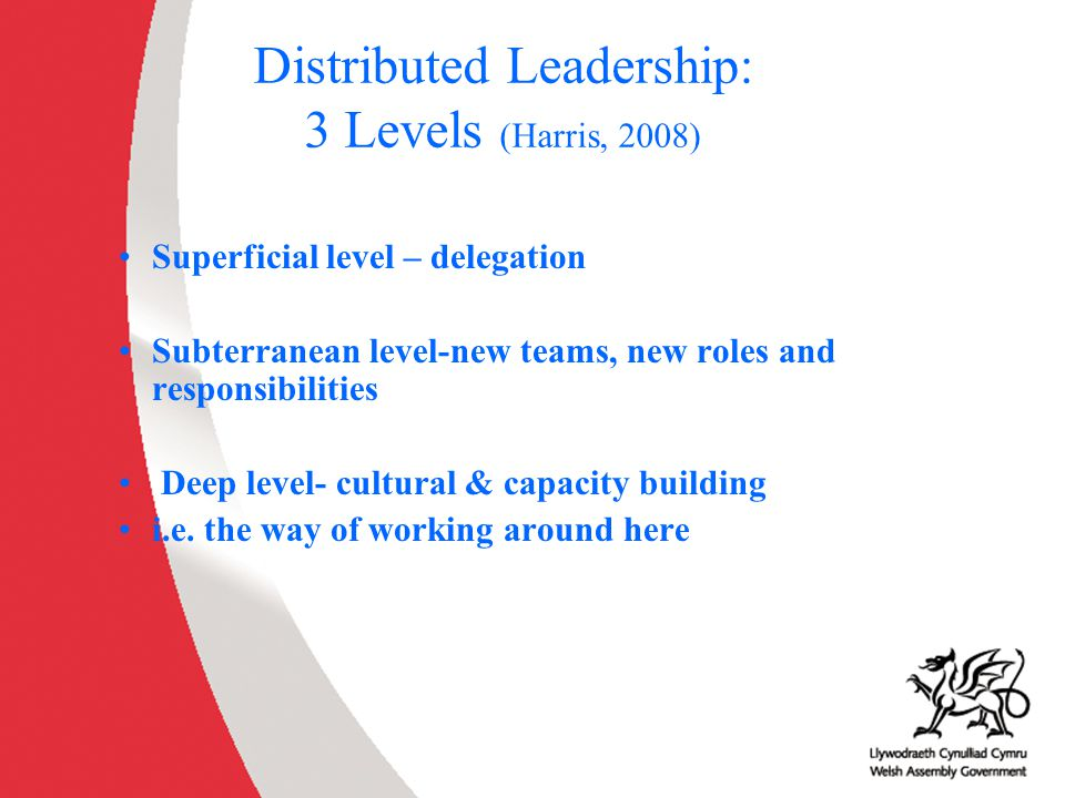 Distributed Leadership: 3 Levels (Harris, 2008)