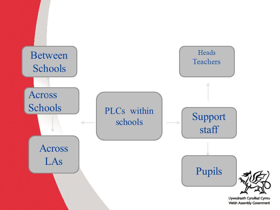 Between Schools Across Schools Support staff Across LAs Pupils