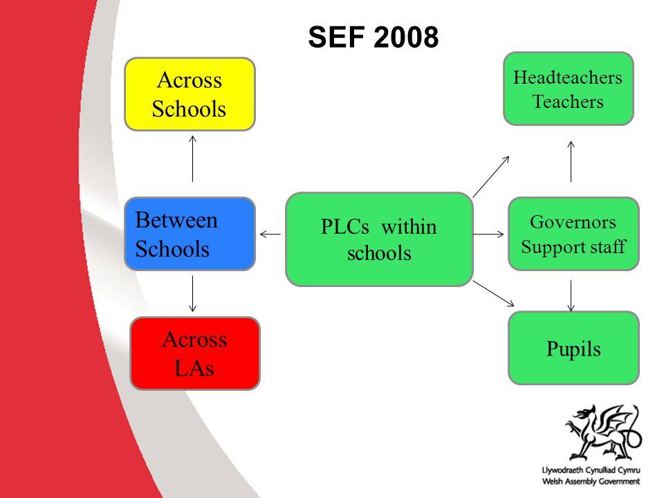 SEF 2008 Across Schools Between Schools Across LAs PLCs within schools