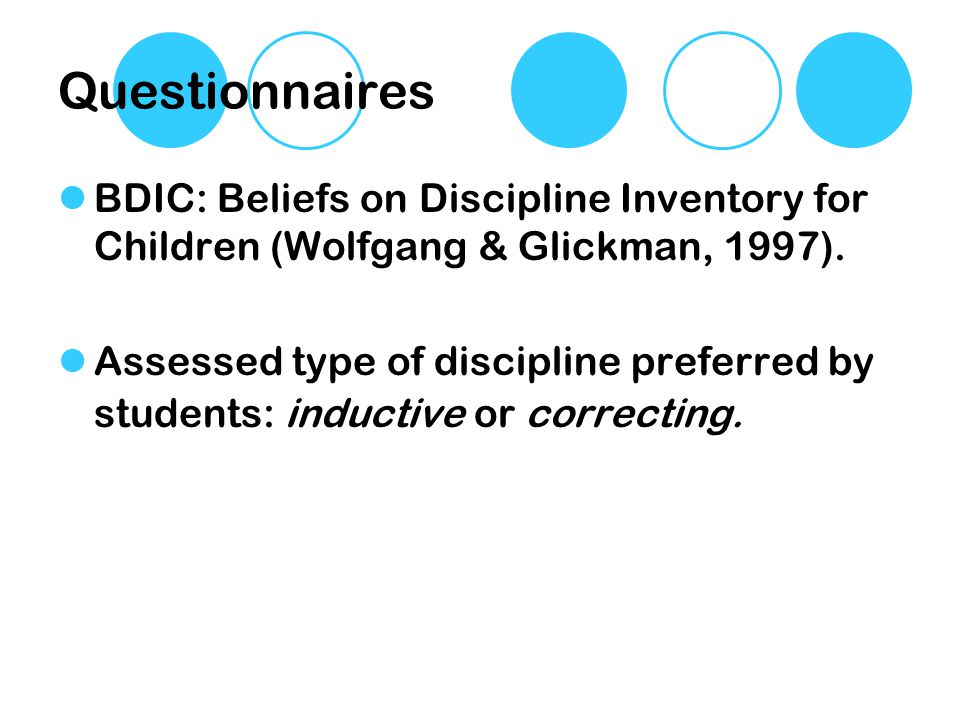 Questionnaires BDIC: Beliefs on Discipline Inventory for Children (Wolfgang & Glickman, 1997).