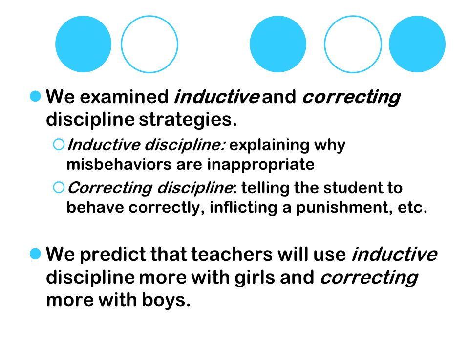 We examined inductive and correcting discipline strategies.
