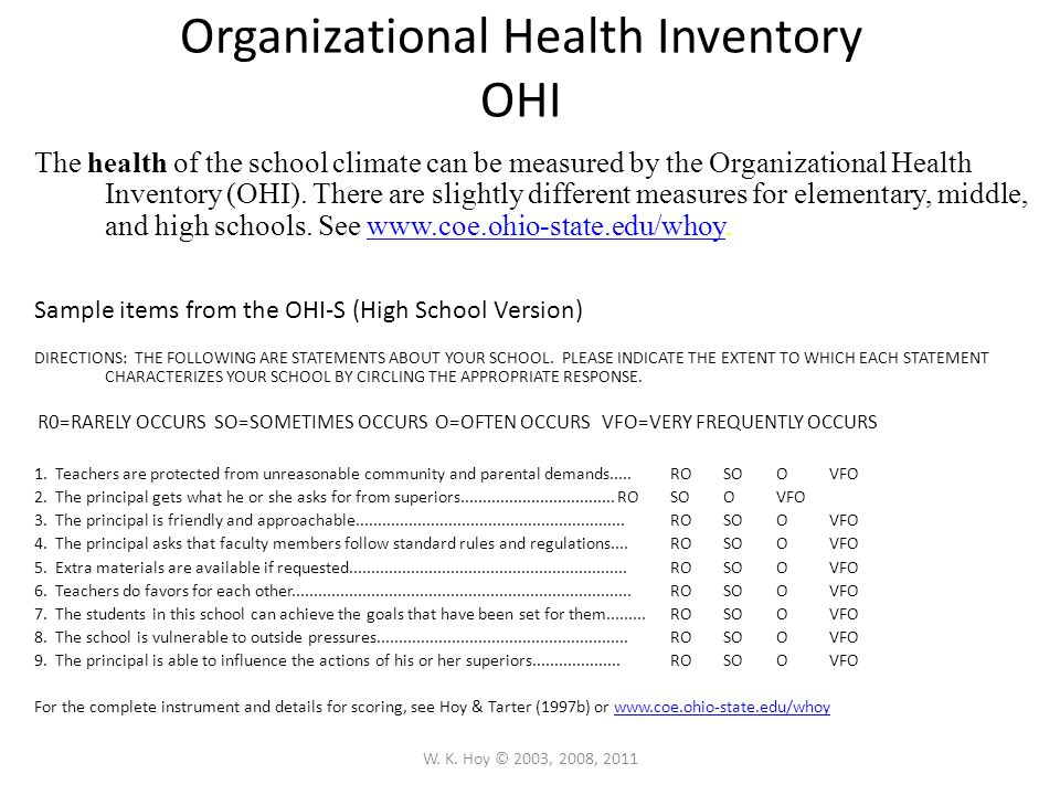 Organizational Health Inventory OHI