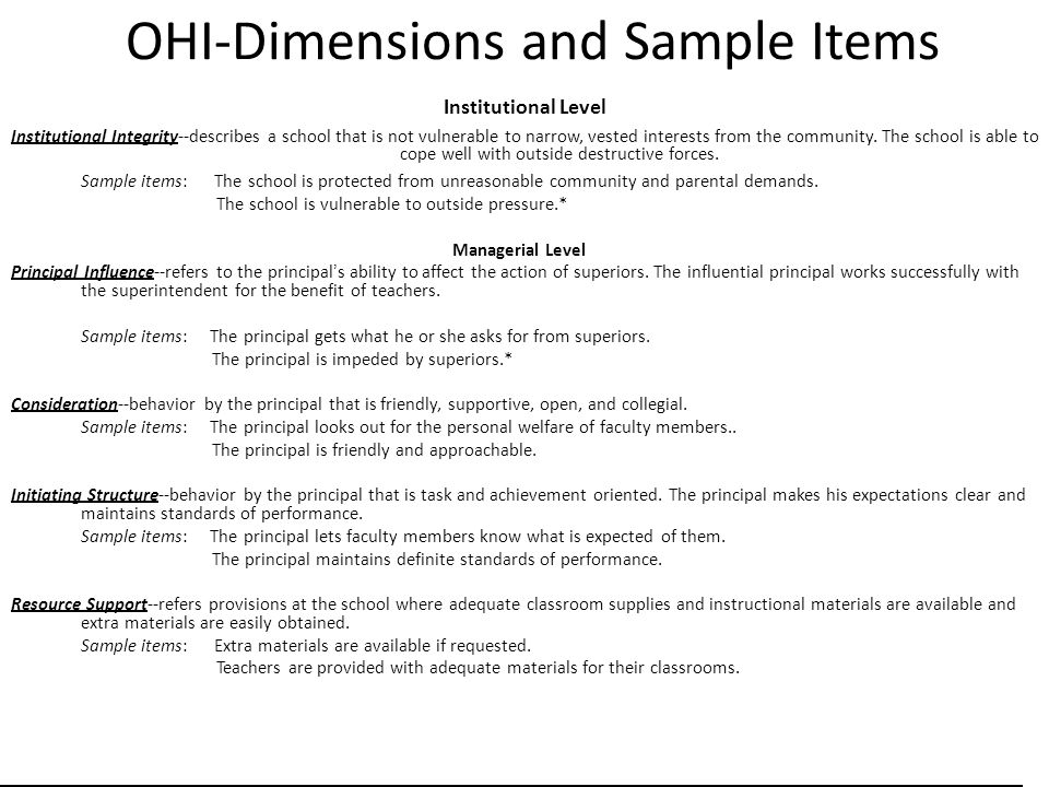 OHI-Dimensions and Sample Items