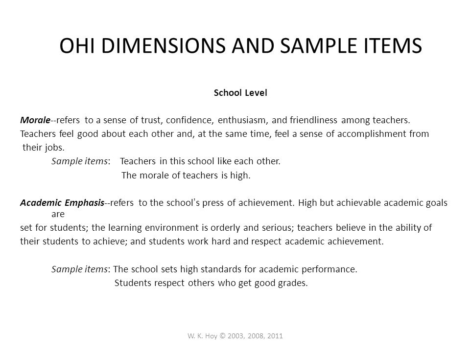 OHI DIMENSIONS AND SAMPLE ITEMS