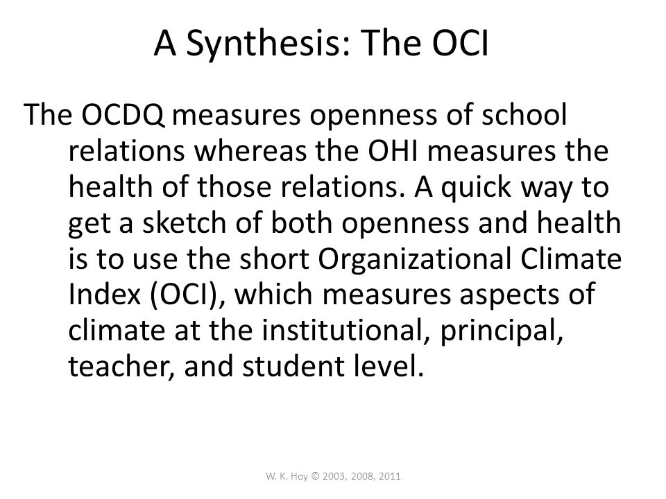A Synthesis: The OCI