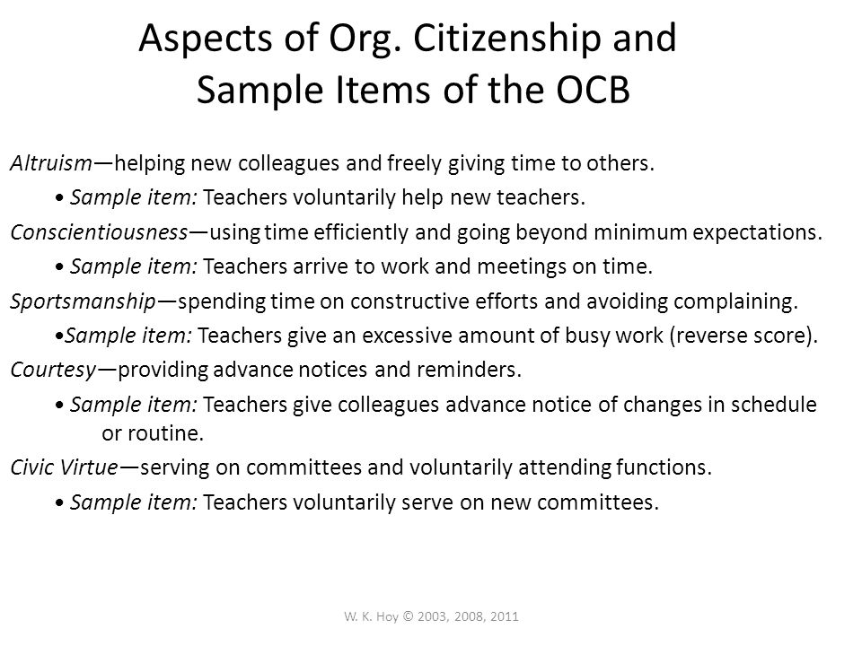 Aspects of Org. Citizenship and Sample Items of the OCB