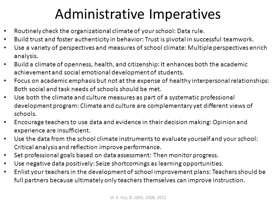 Administrative Imperatives