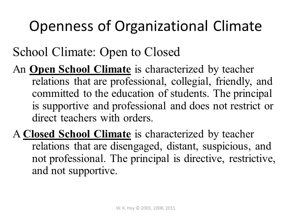 Openness of Organizational Climate