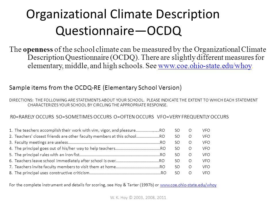 Organizational Climate Description Questionnaire—OCDQ