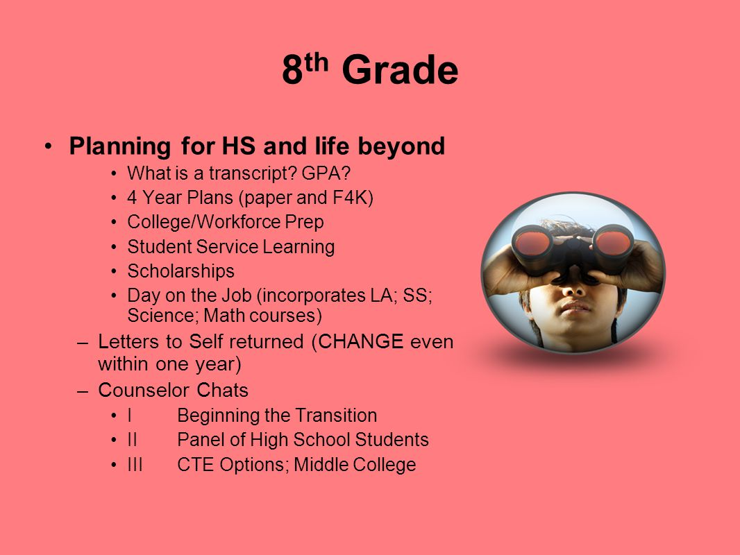 8th Grade Planning for HS and life beyond