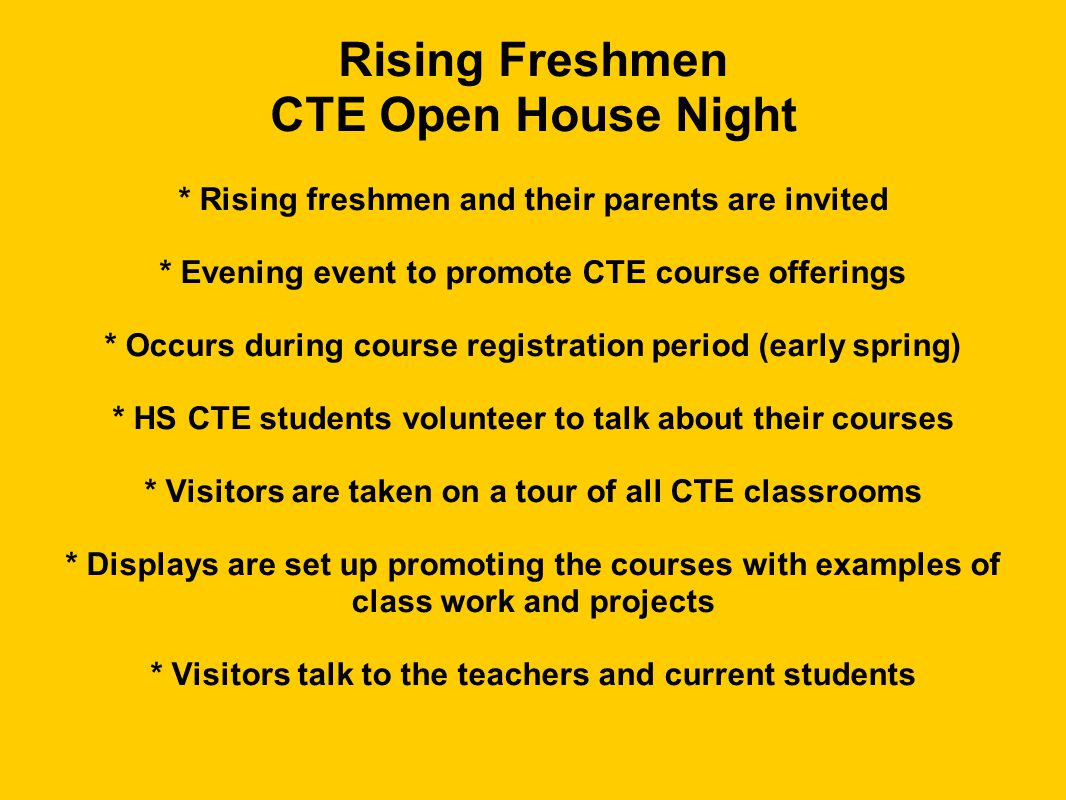 Rising Freshmen CTE Open House Night
