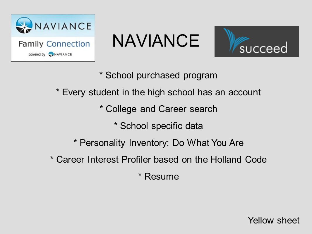 NAVIANCE * School purchased program