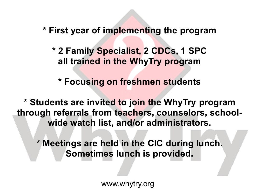 * First year of implementing the program