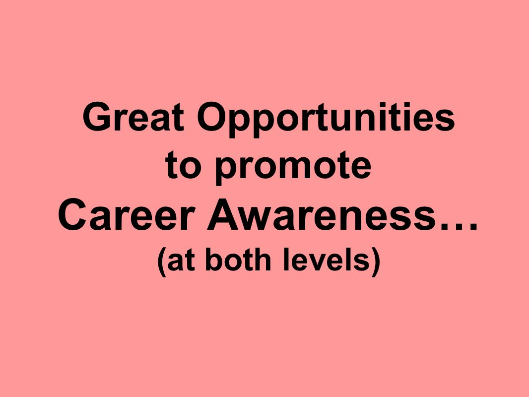 Great Opportunities to promote Career Awareness… (at both levels)