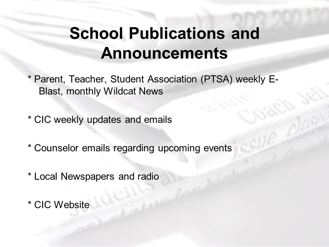 School Publications and Announcements