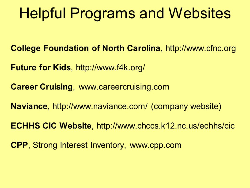 Helpful Programs and Websites