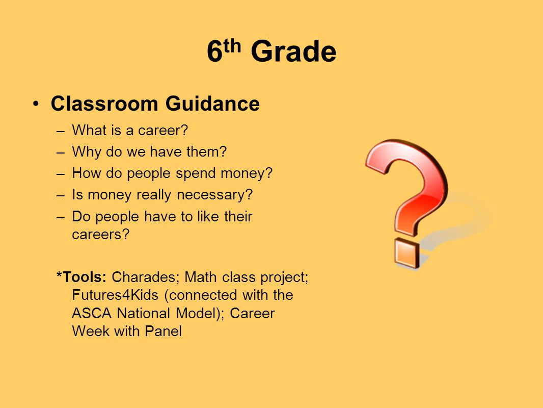 6th Grade Classroom Guidance What is a career Why do we have them