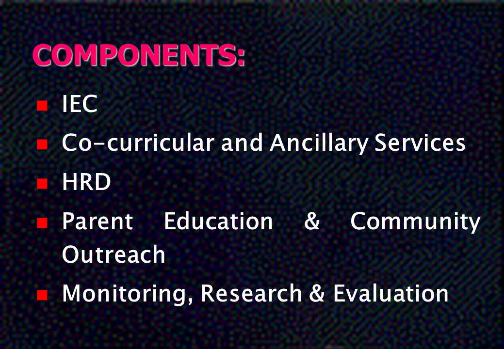 COMPONENTS: IEC Co-curricular and Ancillary Services HRD