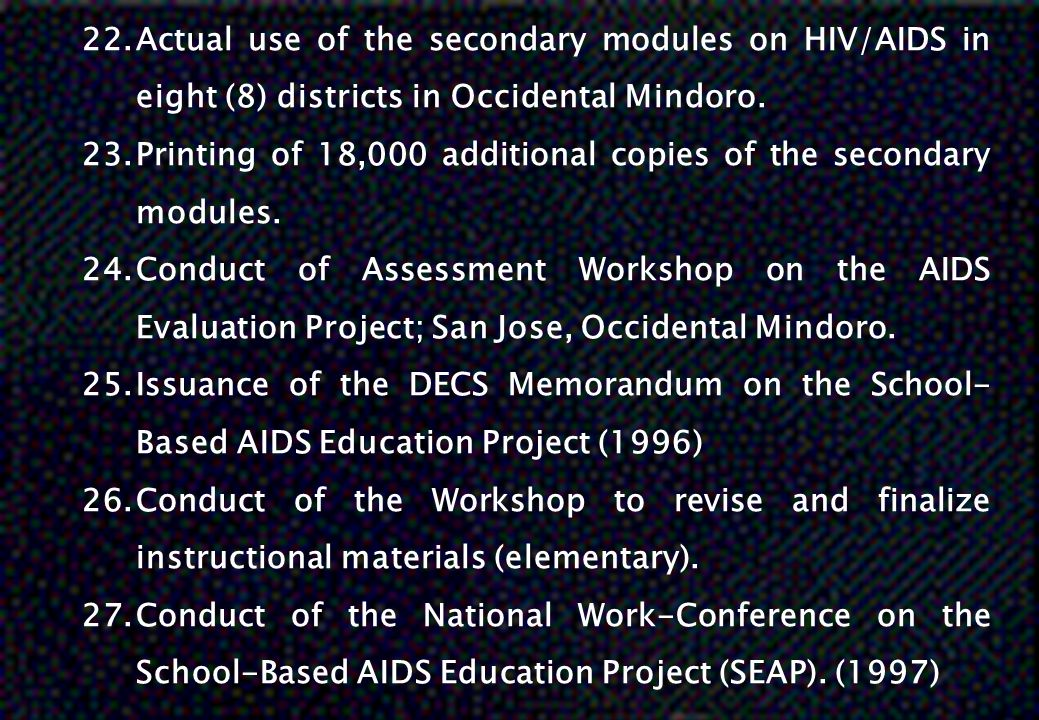 Actual use of the secondary modules on HIV/AIDS in eight (8) districts in Occidental Mindoro.