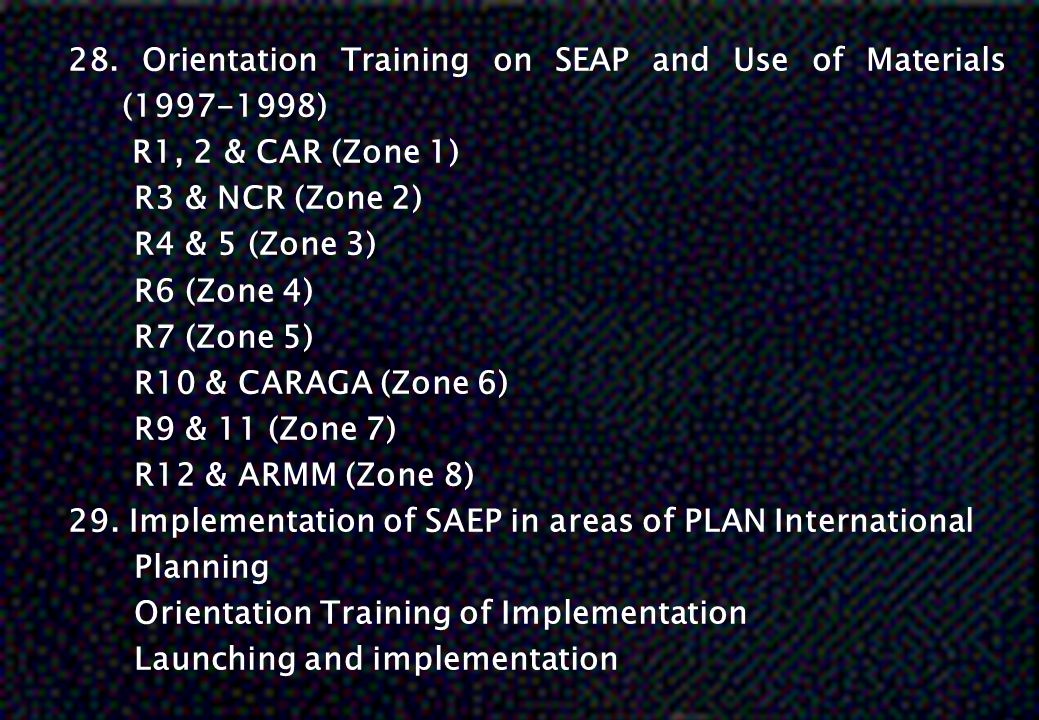 28. Orientation Training on SEAP and Use of Materials (1997-1998)