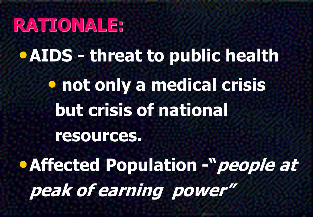 RATIONALE: AIDS - threat to public health