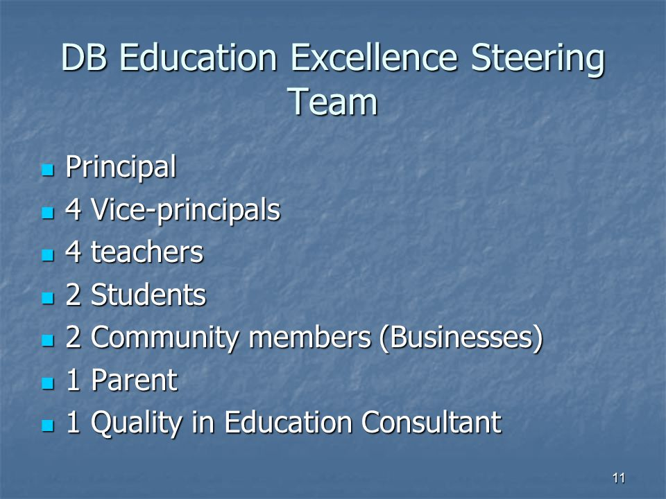 DB Education Excellence Steering Team