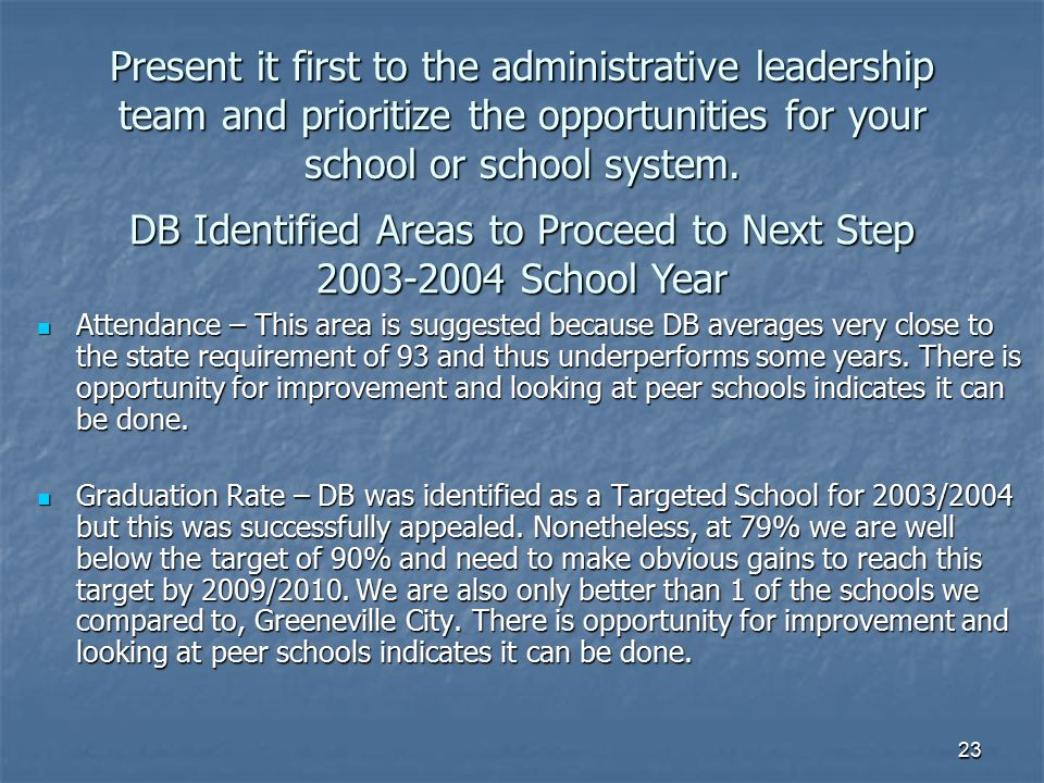 DB Identified Areas to Proceed to Next Step 2003-2004 School Year