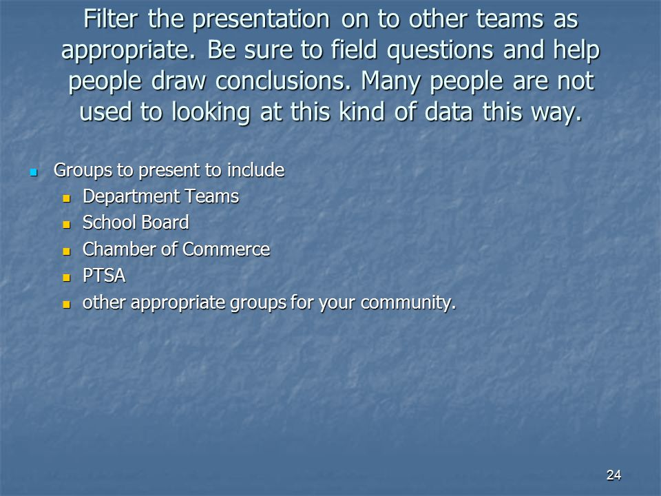 Filter the presentation on to other teams as appropriate